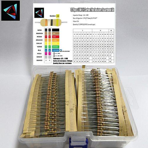 3120pcs 156 Values 1 -10M ohm 1/4W 5% Carbon Film Resistors Assortment Kit Electronic Components
