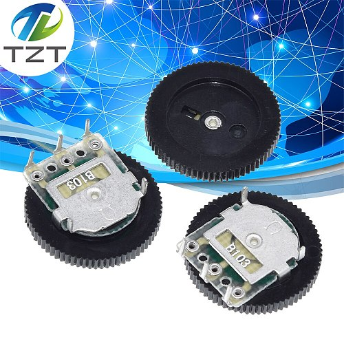 TZT 10 Pcs B103 16x2mm 10K Ohm Double Dial Taper Volume Wheel Duplex Potentiometer Z07 Drop ship