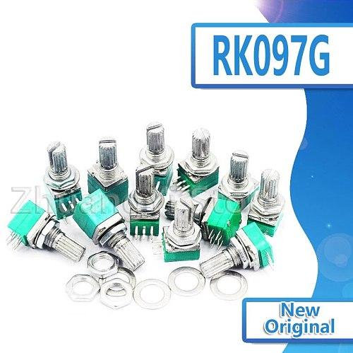 5pcs RK097G 5K 10K 20K 50K 100K 500K B5K with a switch audio 6pin shaft 15mm amplifier sealing potentiometer