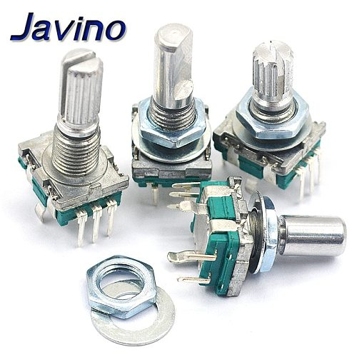 5PCS/LOT 20 Position 360 Degree Rotary Encoder EC11 w Push Button 5Pin Handle Long 15/20MM With A Built In Push Button Switch