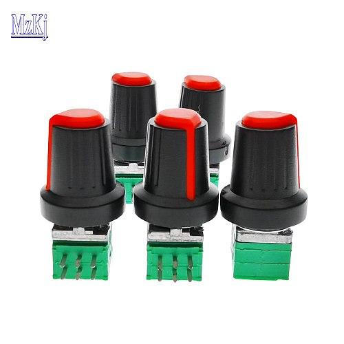 10PCS Hot New Taiwan A50K RD097-15MM + Plastic Knob High Precision Duplex Potentiomet 50KAX2 50K DIP6