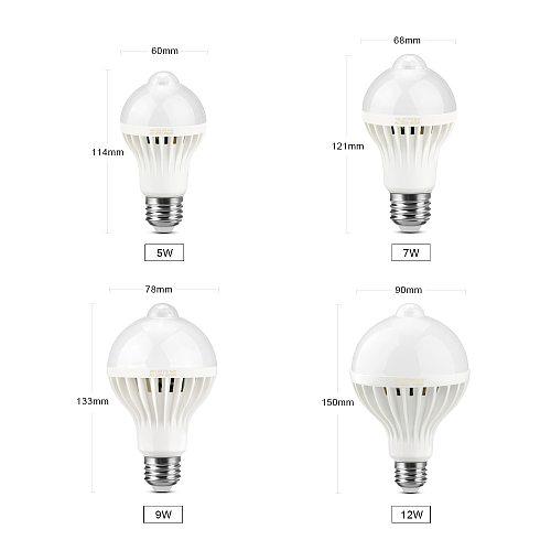 5w 7w 12w 15w LED Night Light Pir Motion Sensor LED Lamp Bulb 220V E27 For Home Kitchen Corridor Stairs Balcony Wall Lighting