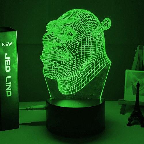 Led Night Light Shrek Head Hologram 3d Illusion Lamp for Kids Child Bedroom Decor Nightlight Usb Battery Powered Table Lamp Gift