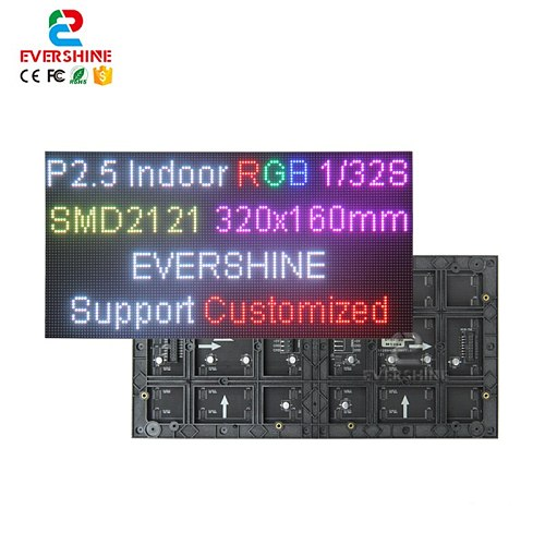 2.5mm Pitch P2.5 SMD2121 RGB Full Color Indoor 320x160mm 128x64Dots LED Matrix Module