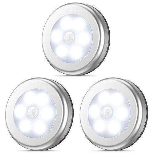 Motion Sensor Night Light Wireless Round LED Light Closet Stair Lamp Magnet Safe Hallway Bathroom Bedroom Kitchen cabinet Lights