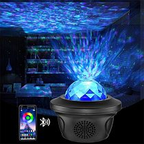USB LED Star Night Light Music Starry Water Wave LED Projector Light Bluetooth Projector Remote Control Projector Light Decor