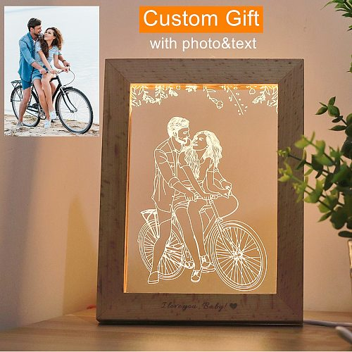 Wood Photo Frame 3D LED Photo & Text Custom Table lamp USB Photo Frame Night Light 3 Colors Customized Gift Personalized Lamp