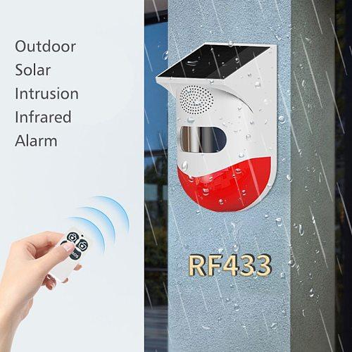Solar Infrared Alarm Detector Sensor RF433 Remote Control Wireless Home Burglar Security Alarm Siren PIR Motion Sensor Detector