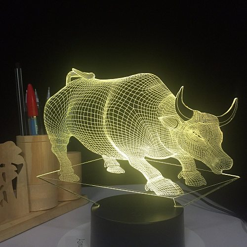 USB Bull Cow Lamp 7 Colors Changed Touch Table Lamp Baby Sleeping Lamp 3D Home Decor Light Desk Light 3D Lamp Creative Kids Gift