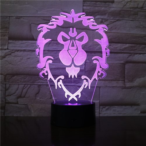 3D Illusion WOW World of Warcraft Lion Signs 7 Color Desk Table Night Light Lamp Kiddie Kids Children Family Holiday Xmas Gift