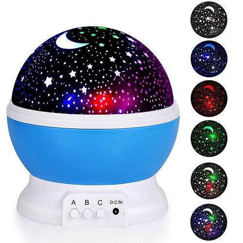 Sky Projector Star Moon Galaxy Night Light For Children Kids Bedroom Decor Projector Rotating Nursery Night Light star projector