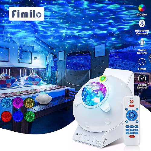 Night Light Projector Led Light Star Music Projectors with Bluetooth Speaker Wave Galaxy Projector for Kid Adult Ceiling Bedroom