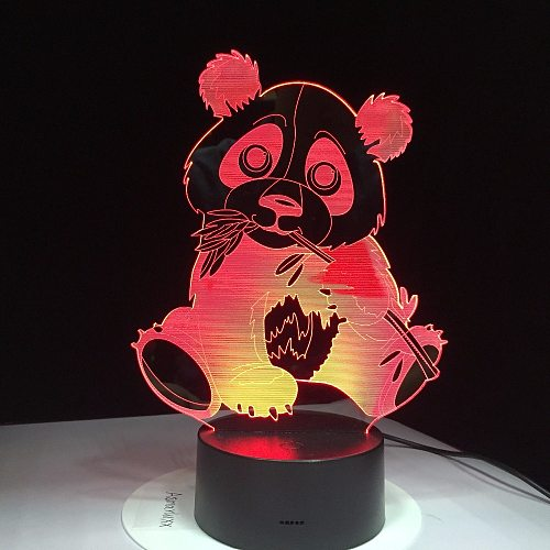 Panda Eating Bamboo 3D Night Light Colorful Visual Kids Lamp Touch Control Gift 3D Night Light 7 Colors USB Decor Lamp Drop Ship