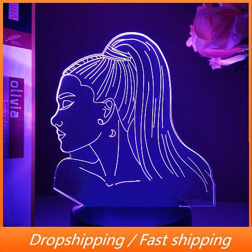 3d Night Light Singer Ariana Grande Gift for Fans Bedroom Decor Light Led Touch Usb Table Lamp Color Battery Powered Night Light