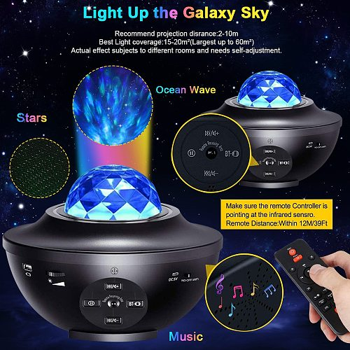 WIFI Galaxy Projector Ocean Wave Smart Star Projector Light Bluetooth Night Light Voice Control Music Player LED Projector Lamps