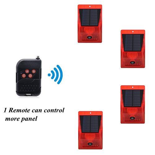 PIR Motion Sensor Solar Alarm Lamp Anti-Pet Function Yard Garden Siren With Strobe Remote Control Security Solar Power Light