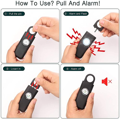 Self Defense Siren Safety Alarm for Women Keychain with 130dB SOS LED Light Personal Alarms Personal Security Keychain Alarm