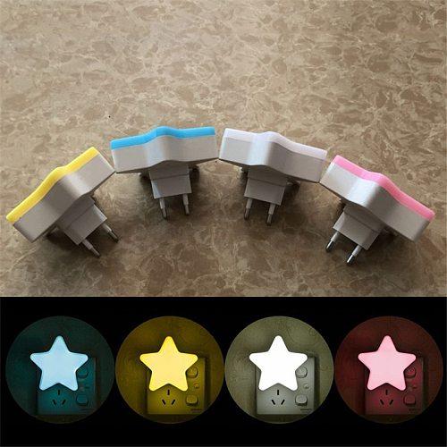 Mini Cute Star LED Night Light EU/US AC110-220V Pulg-in Socket Bedside Wall Lamp Light Sensor Control Children kids Night Lamp