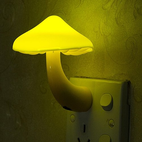 Warm Yellow Mushroom Wall Socket Lights Room Decor EU US Plug Light-controlled Sensor LED Night Light Home Bedroom Decoration