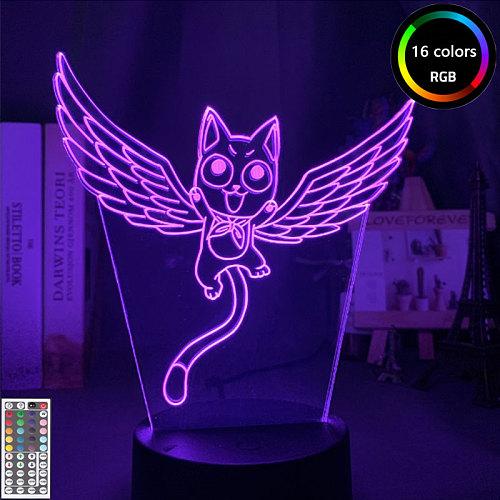 3D Anime Night Light LED FAIRY TAIL Team Anime Figure LED Night Lamp for Home Decor 3D Illusion Lamp Gift Light for Children Kid