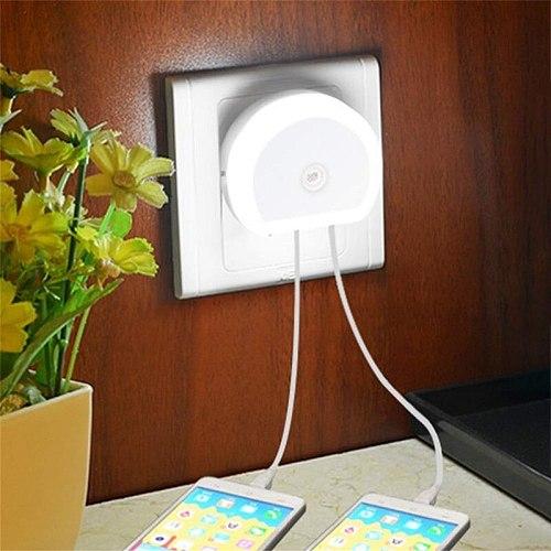 LED Night Lamp Dual USB Night lights Port Charger lights 110V/220V US EU Plug in for Home Bedroom lighting Emergency Sensor Lamp