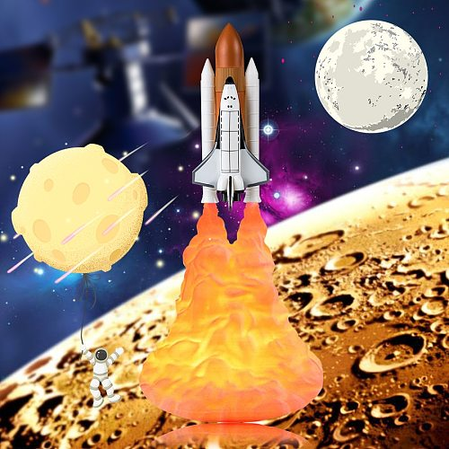 EeeToo 3D Print Space Shuttle Lamp LED Night Light USB Charging Rocket Lamp and Moon Lamps For Space Lovers Nightlight Dropship