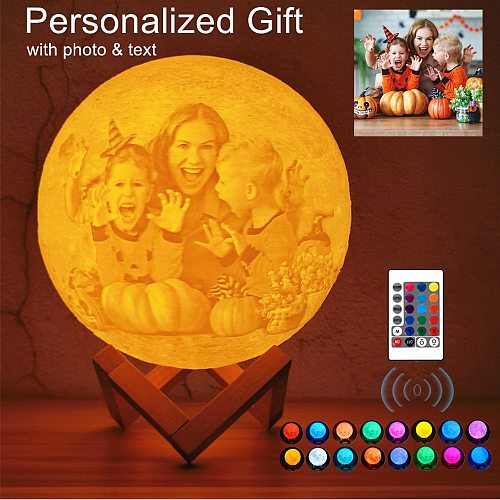 Photo/Text Customized 3D Printing Moon Lamp  Touch Switch Night Light for Kids Girlfriend family Custom gift Home Decor Dropship