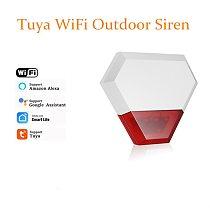 Tuya WiFi Outdoor Strobe Siren Alarm Waterproof Flashlight Siren with Alexa Google APP for WiFi Home Security Alarm System