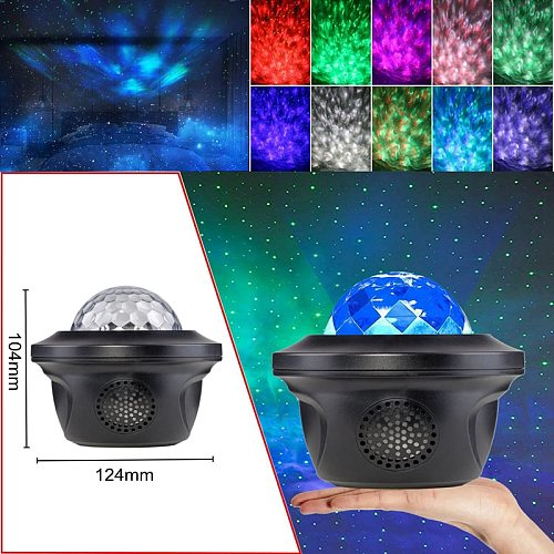 New LED Laser Colorful Starry Sky Ocean Projector Night Light Remote Control Water Ripple Projection Lamp With Bluetooth Music