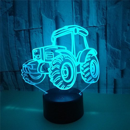 3D night Light Tractor Shape USB Charge Touch Switch Lamp 7 Colorful Kids Night Light Hot Drop Ship Novelty Gifts