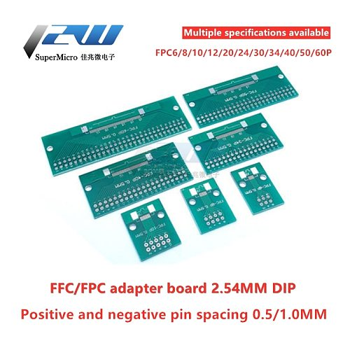 Double Side 0.5mm 1mm 6 8 10 12 20 40 50 60 Pin to DIP 2.54mm FPC/FFC SMT Adapter Socket Plate PCB Board Connector DIY KIT