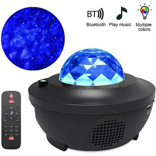 Colorful Starry Sky Ocean Wave LED Light Star Projector USB Voice Control Music Player Remote Control Lamp Light Decor Dropship