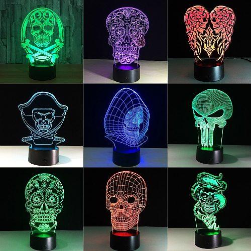 3D LED Color Night Light Changing Lamp Halloween Skull  Light Acrylic 3D Hologram Illusion Desk Lamp For Kids Gift Dropship