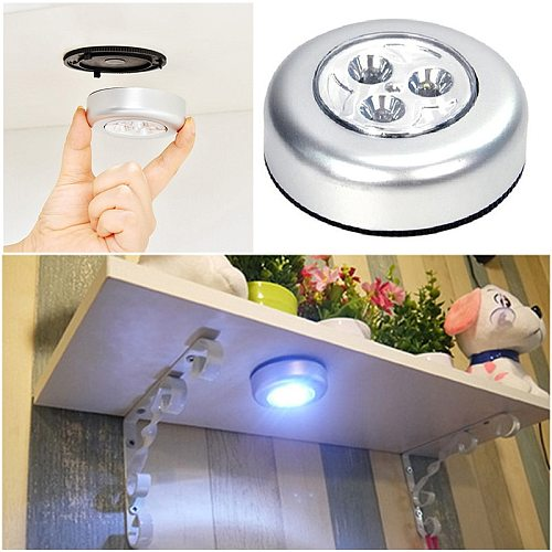 New Battery Powered Wall Lamp Self-adhesive Cordless Stick Tap Wardrobe Bedroom Light Lamp Car Ceiling Night Light