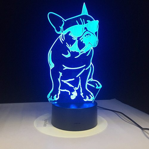 French Bulldog with Sunglass 3D LED Night Light Frenchie Dog Decorative Lighting Color Changing Acrylic Lamp Gift for Dog Lovers