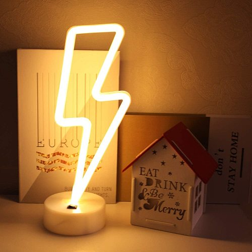 LED Neon Sign Lightning Shaped USB Battery Operated Night Light Decorative Table Lamp for Home Party Living Room Decoration