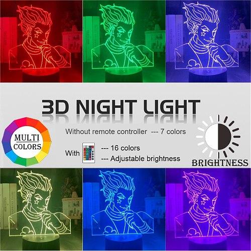 Kids Night Light Gift Led Touch Sensor Colorful Bedroom Nightlight Anime Hunter X Hunter Decor Light Cool 3d Lamp Hisoka Gadgets