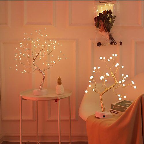 USB Table-Lamp Copper Wire Christmas Fire Tree Night Light For Holiday Bedroom Indoor Kids Bar Decor LED Fairy Lights 11 Styles