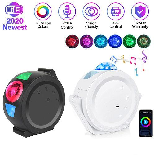 LED Starry Sky Projector Light Moon Star Cloud Bluetooth Night Lamp 360 Degree Rotation Projection 6 Colors Ocean Waving Lights