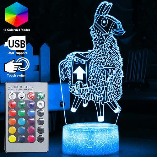 3D Nightlight baby Game Alpaca Llama Remote Night Light 16 Color Table Lamp Baby Luminaria Children Birthday Christmas Kids Gift