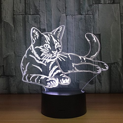 Lovely Cat 3D Night Light Touch Switch LED Animal 3D Lamp 7 Colors USB Illusion Desk Lamp Home Decor As Kids Toy Birthday Gift