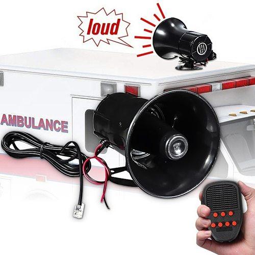 12V Car Alarm Megaphone Speaker Microphone 6 Sounds Siren Horn PA System Kit for Elements Personal Car Part Ornaments