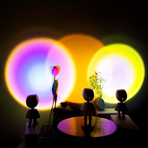 2021 USB Button Rainbow Sunset Projector Colorful Led Night Light Broadcast Background Wall Home Decoration Coffe Shop Lamp