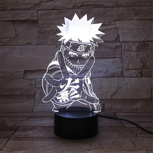 Naruto Figurine Anime Uzumaki Naruto LED 3D Light USB LED Night Lamp Novelty Light Mutilcolor Children Table Lamp Home Decor