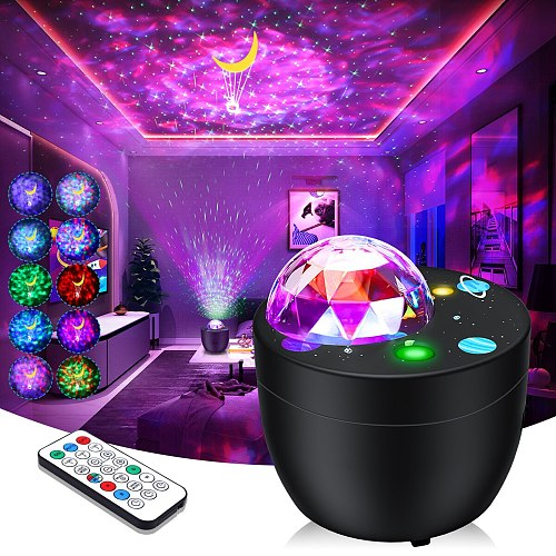 LED Galaxy Projector Ocean Wave Night Light Starry Lamp Remote Star Rotating Night Light For kid Bedroom Lamp home decoration