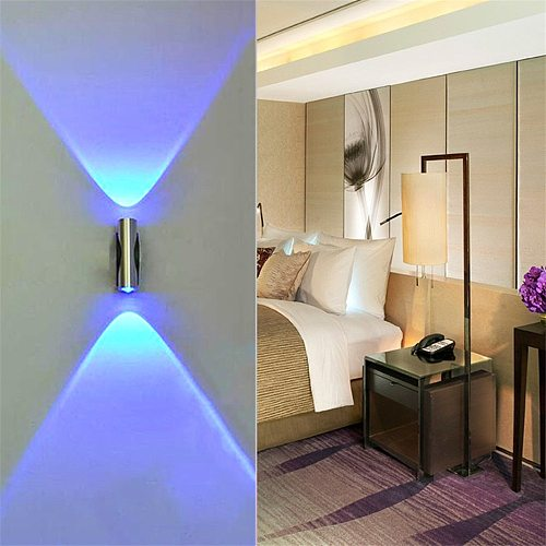 40# Double-headed LED Wall Lamp Home Sconce Bar Porch Wall Decor Ceiling Light Blue