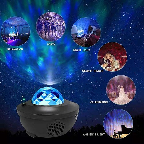 Bluetooth Projector Night Light Music Player LED Star Night Light Projector Light Lamp Nightlight Children's Gift Decoration D30
