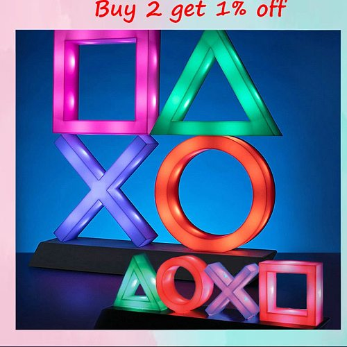4 Styles Playstation Sign Voice Control Game Icon Light Acrylic Atmosphere Neon With USB Cable KTV Bar Living Room Bedroom Decor