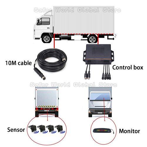 Heavy Duty Vehicle Rear Side Blind Spot Buzzer Voice Alarm Led Display Reverse Parking Sensor System For Bus Forklift
