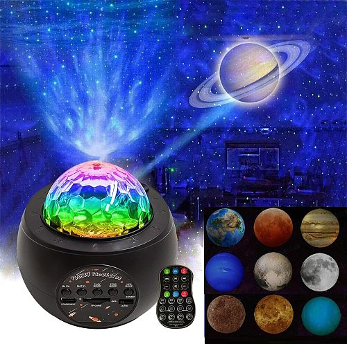 9 Planet Galaxy Projector Light Moon Lamp Ocean Wave LED Night Light USB Bluetooth Music Lamp Colorful Starry Sky Star Projector